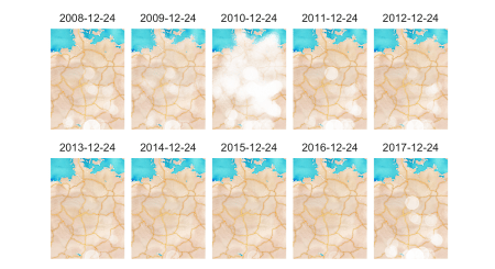 Snow depth on Christmas Eve per year (2008-2017)