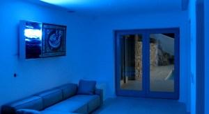 blue neon night time