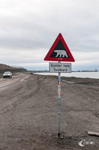 Eisbären Warnschild