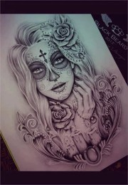 gorgeous sugar skull tattoo
