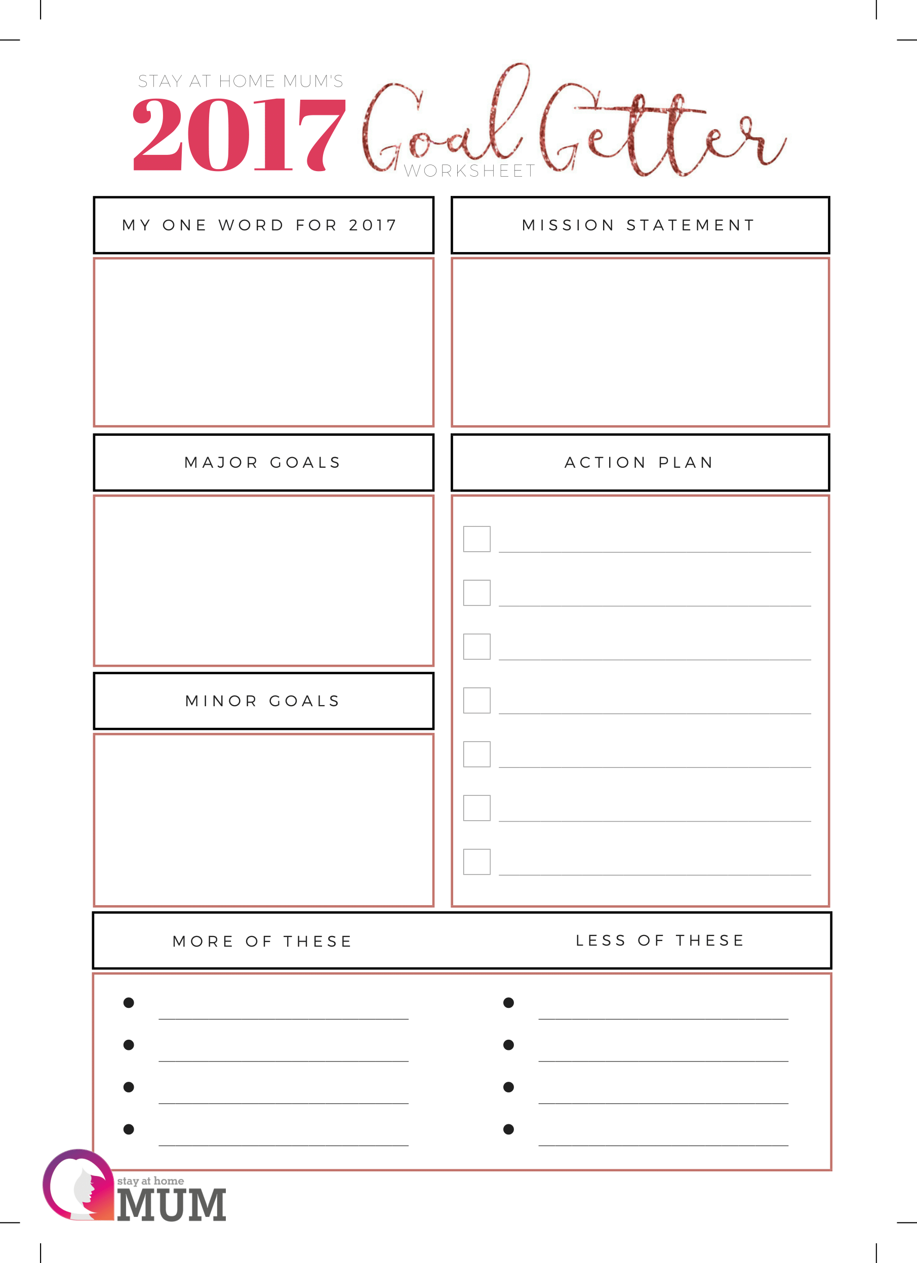 Goal Getter Worksheet