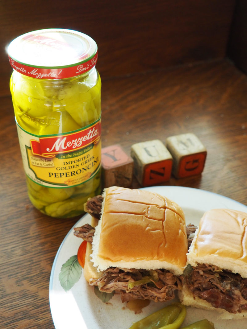 slow cooker beef ppperoncini sliders: I put this on before I went to bed and my house smelled wonderful when I woke up!! I shredded the meat to put them on sliders. This was a childhood favorite and a big hit with my family! | Stay gold Autumn