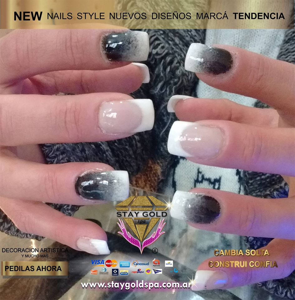 francesitas decoradas dithered black nails