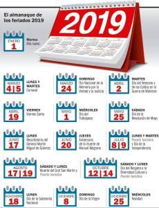 feriados 2019. www.eldia.com