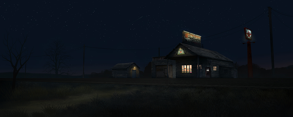 Alone 3d Wallpaper Making Of Spooky Gas Station Digital Painting Mood