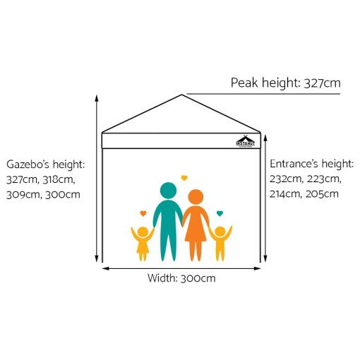 Outdoor Gazebo Instahut 3x3 Pop Up Marquee White Sizing Specifications