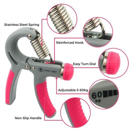 Pink Grip Strengthener Logo Features