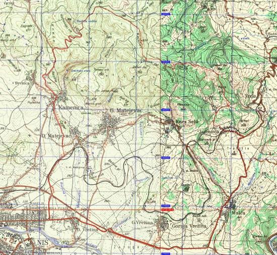 Mapa (1:50 000) planinske biciklističke ture nadomak Niša