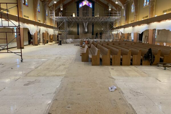 Image of church pews construction