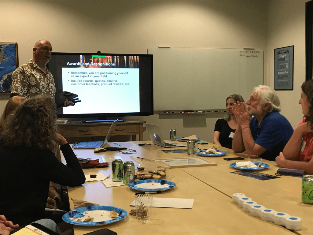 Jack Molisani speaking about applying to techwriting jobs at September San Diego STC meeting