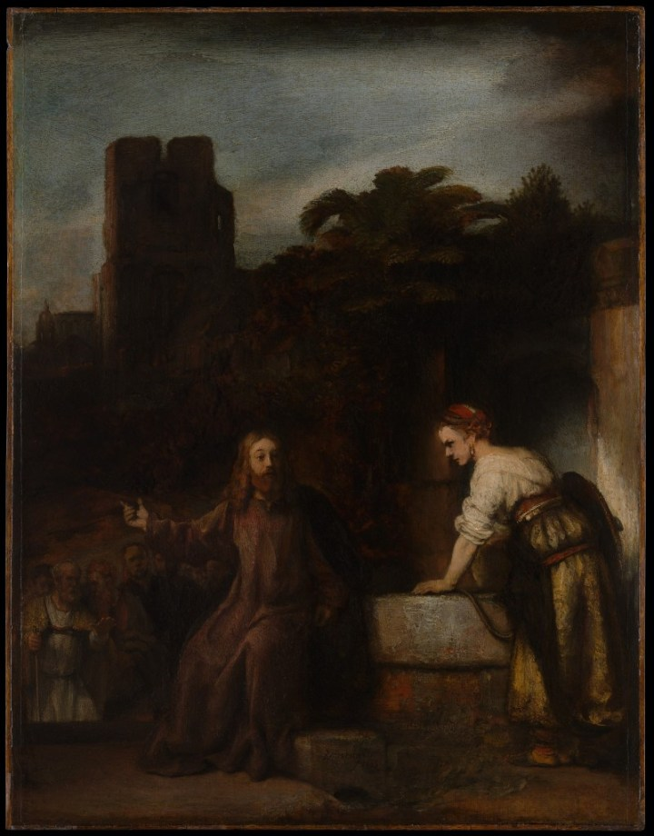 Christ and the Woman of Samaria, Rembrandt and student, c. 1655 (Met. Museum of Art, New York)