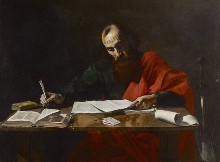 Paul Writing His Epistles, attr. Valentin de Boulogne, 17th century, Museum of Fine Arts (Houston)