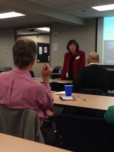Presenter Constance Billé fields a question from David Calloway at the October chapter meeting.