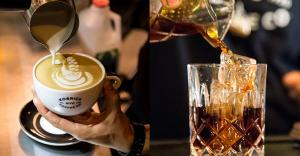 images of a latte being poured, and a cocktail being poured