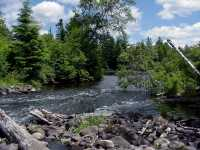 Logging dam remnants on the Namekagon River (National Park Service photo)