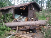 Storm damage to group cabin at St. John's Landing in St. Croix State Park