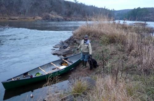 Canoe, dog, friend