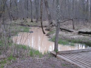 A stream flowing into the St. Croix River near Grantsburg runs brown with sediment from a silica (frac) sand mine
