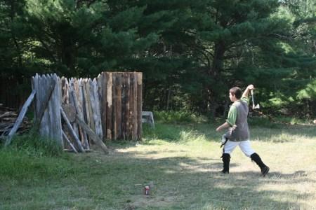 Tomahawk throwing at the Fur Trade Rendezous