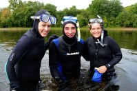 The U.S. Fish and Wildlife Service is working with federal and state partners to re-establish the endangered winged mapleleaf mussel in the Mississippi River and its tributaries. Service divers check for reproducing mussels in the St. Croix River in the late summer and early fall for use in recovery of the species.