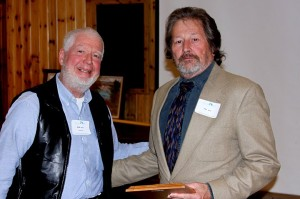 Jim Miller (right) receives the SCRA annual stewardship award from Buck Malick