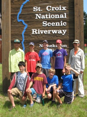 Seven boys, two leaders, and three days of fun on the Namekagon River. Photo by Andy Arthur.