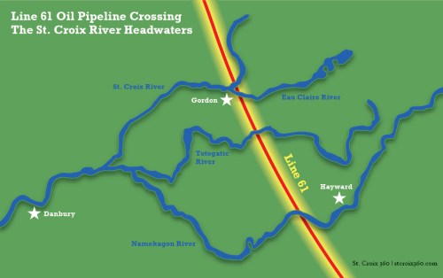 Map of Line 61 pipeline's route across the St. Croix River headwaters