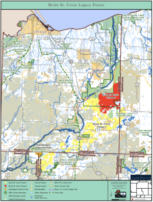 Map of the Brule-St. Croix Legacy Forest. Red areas are part of the most recent acquisition.