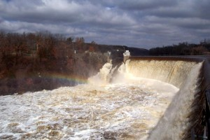 St. Croix Falls dam at high flows in spring (NPS photo)