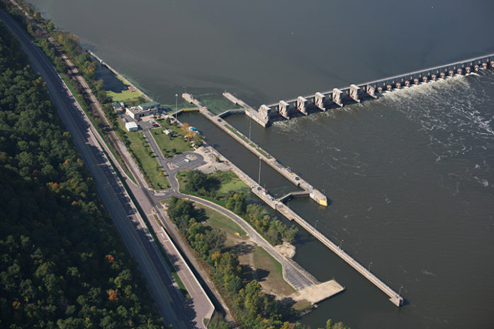 Lock and Dam 5, Minnesota City, Minn. Upper Mississippi River mile 738.1 (US Army Corps of Engineers photo)