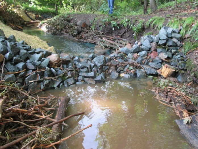 A rock dam controls and slows water, reducing its power to erode and carry soil and other material. (Photo Chisago Soil & Water Conservation District)