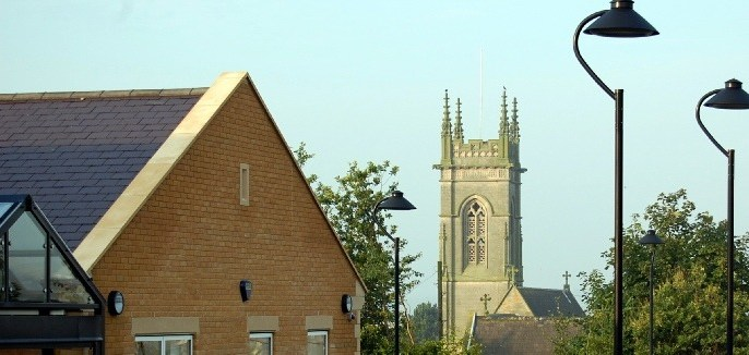 An image of the School overlooking the church