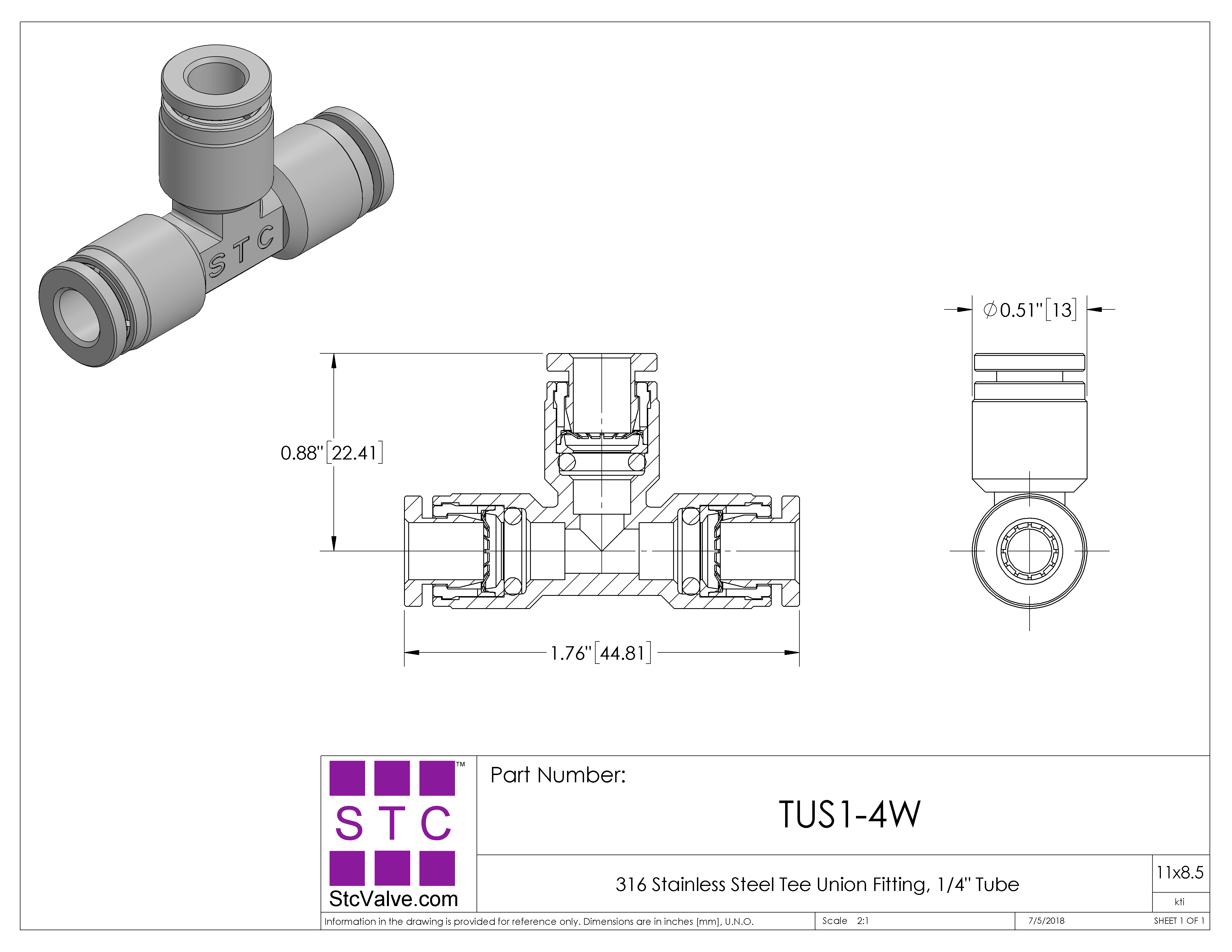 Tee Union Fitting: TUS 1/4 W