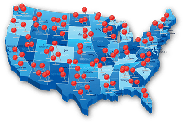 USA diagram with map pins