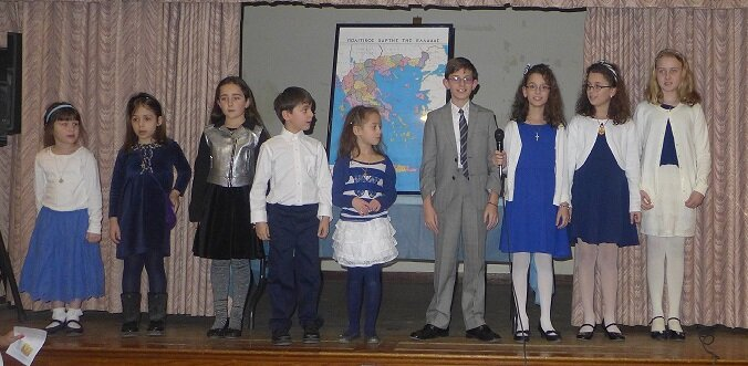 Greek School Students Recite Poems