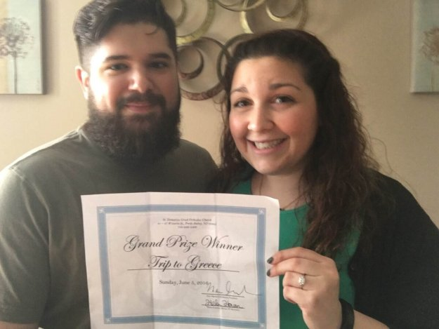 "The Grand Prize Winner, Brian Garcia, of Perth Amboy, and his fiancé, Domenique Katsaros, show their joy and excitement as they begin planning their ""dream trip"" to Greece."