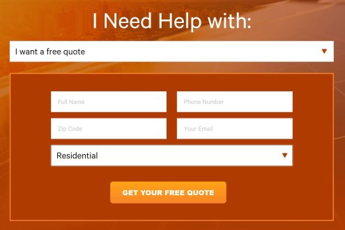 Example of a simple free quote form on a solar company site