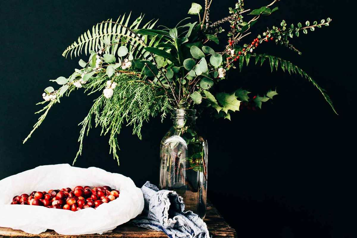 plant cuttings used as decoration for holiday party planning