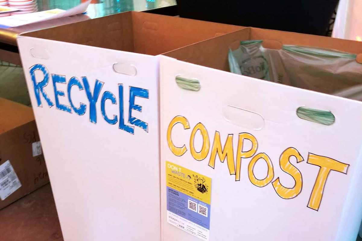 recycle and compost bin with hand drawn labels