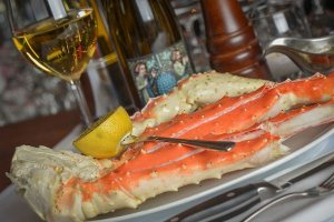 Alaskan king crab dinner display