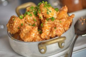Fried Crispy shrimp in a steel pan