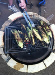 Our simple campout dinner was roasted corn and hot dogs.