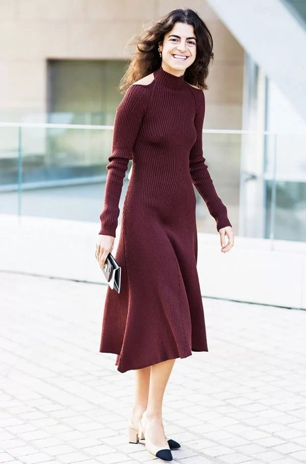 leandra medine look cut out shoulder dress burgundy