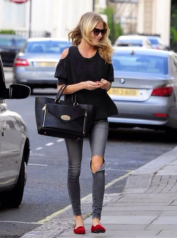 look cut out shoulder top destroyed jeans