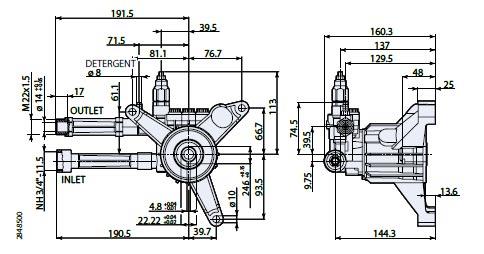 AR Pump RMW25G28-EZ Pressure Washer Replacement 2.5 gpm