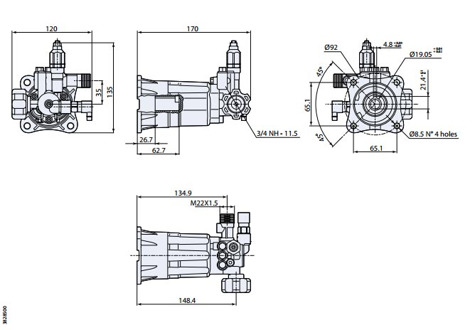 AR Pump RPV2G19D Horizontal 2 gpm 1900 PSI 382 series