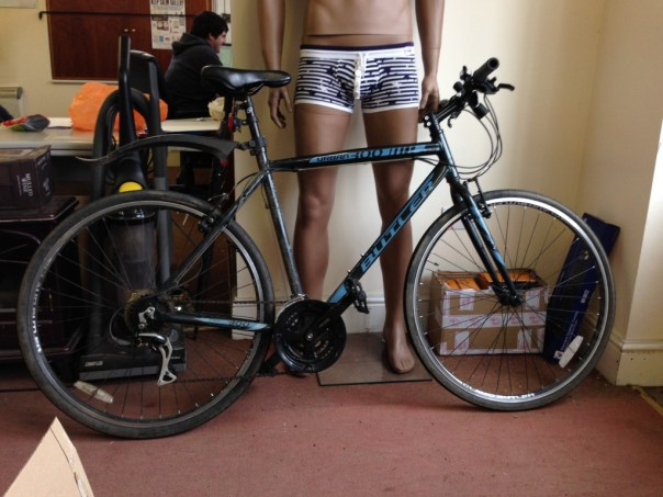 My Bike, nicely modelled by Gabriel the Pants2You mannequin