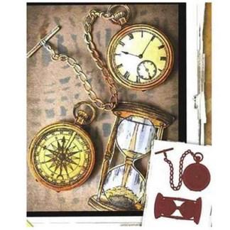 Steampunk Stanzschablonen-Set Taschenuhr und Sanduhr