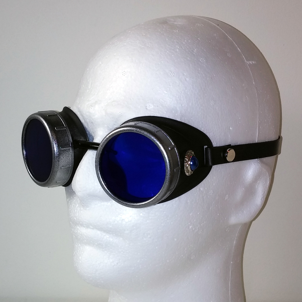 Blue Pearl Goggles in Silver with Leather Strap
