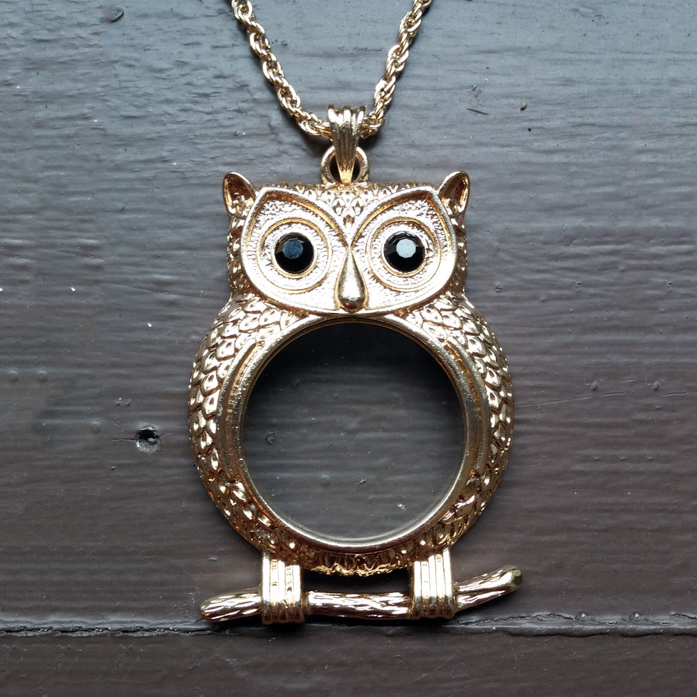Steampunk Owl Monocle Necklace Gold Tone